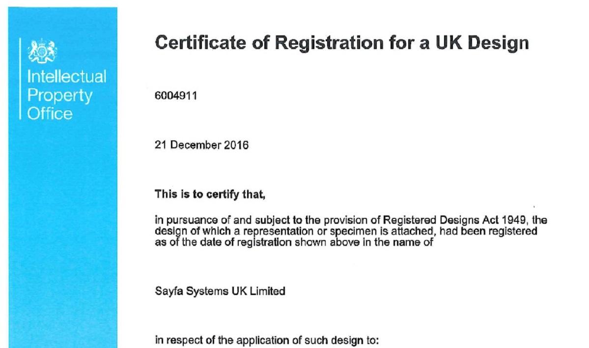 Design Registration for Davit Arms DA 300 and DA 400