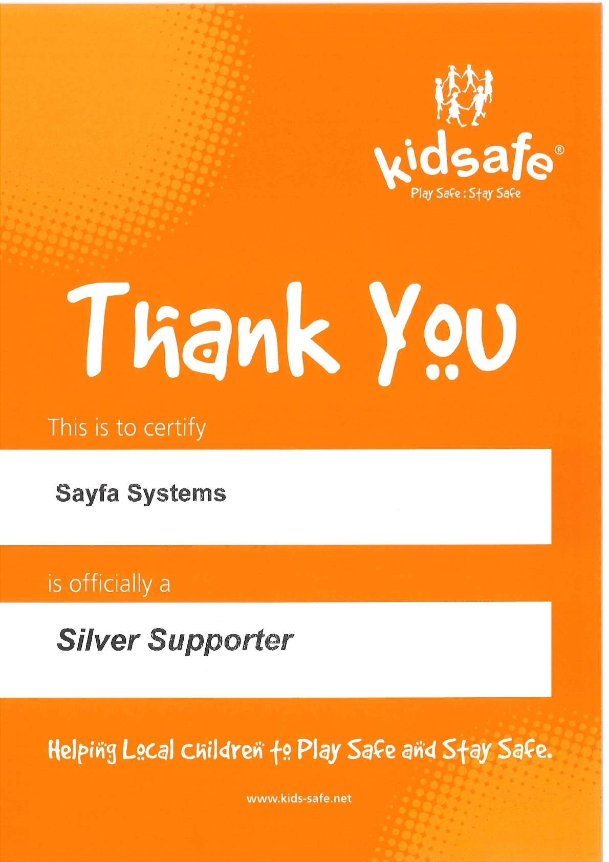 Sayfa becomes a Silver Supporter of Kidsafe